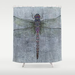 Dragonfly on blue stone and metal background Shower Curtain