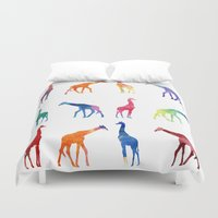 giraffes Duvet Covers featuring Giraffes by emegi