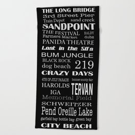 sandpoint, idaho Beach Towel