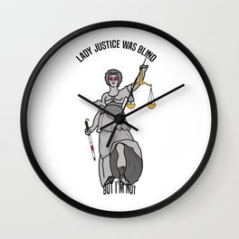 Lady Justice was blind. Law Feminist Funny Aesthetic Cartoon Wall Clock