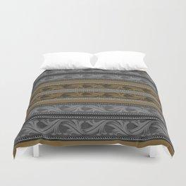 Fret Stripe in Black and Brown Duvet Cover