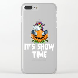 Unicorn Pumpkin, It's Show Time Funny Halloween Horror Scary Clear iPhone Case