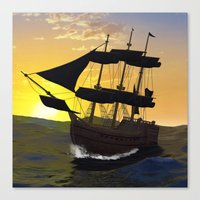 pirate ship Canvas Prints featuring Pirate ship  by nicky2342