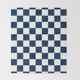 Checkered - White and Oxford Blue Throw Blanket