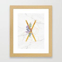 Modern glamorous personalized gold initial letter X, Custom initial name monogram gold alphabet prin Framed Art Print