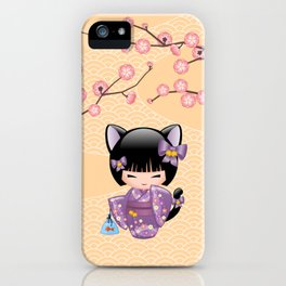 Japanese Neko Kokeshi Doll V2 iPhone Case