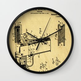 Browning Firearm Support Patent Drawing From 1911 Wall Clock