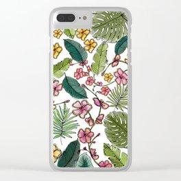 Botanical joy on white Clear iPhone Case