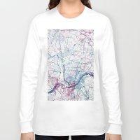 cincinnati Long Sleeve T-shirts featuring Cincinnati map by MapMapMaps.Watercolors
