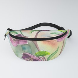 Lenten Roses - Watercolor Painting Fanny Pack