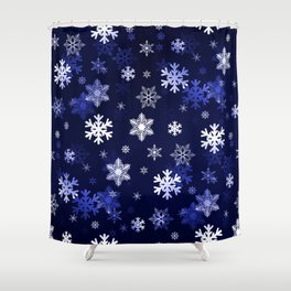 Dark Blue Snowflakes Shower Curtain