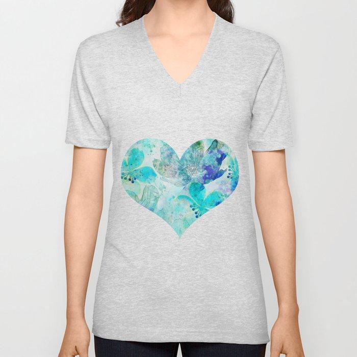 blue turquoise mixed media flower illustration Unisex V-Ausschnitt