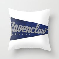 ravenclaw Throw Pillows featuring Ravenclaw 1948 Vintage Pennant by Andy Pitts
