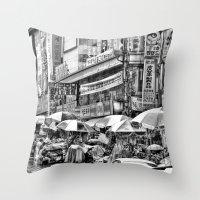 korean Throw Pillows featuring Korean Rain by Anthony M. Davis