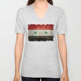 Syrian national flag, vintage Unisex V-Neck