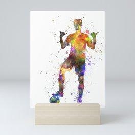 brazilian soccer football player young man saluting  silhouette Mini Art Print