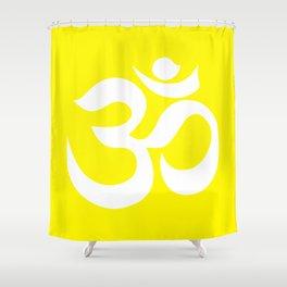 White AUM / OM Reiki symbol on yellow background Shower Curtain