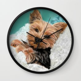 Chewie the Yorkie Wall Clock