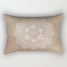Mandala Brown Beige Creamy Pattern Rectangular Pillow