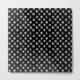 Hieroglyph seamless pattern Japan word on black Metal Print