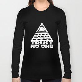 Trust No One Seeing Eye Funny College Illuminati Conspiracy Mason Geek Gym T-Shirts Long Sleeve T-shirt