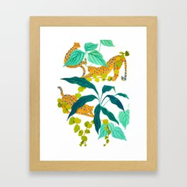 Leopards Playing among Plants Framed Art Print