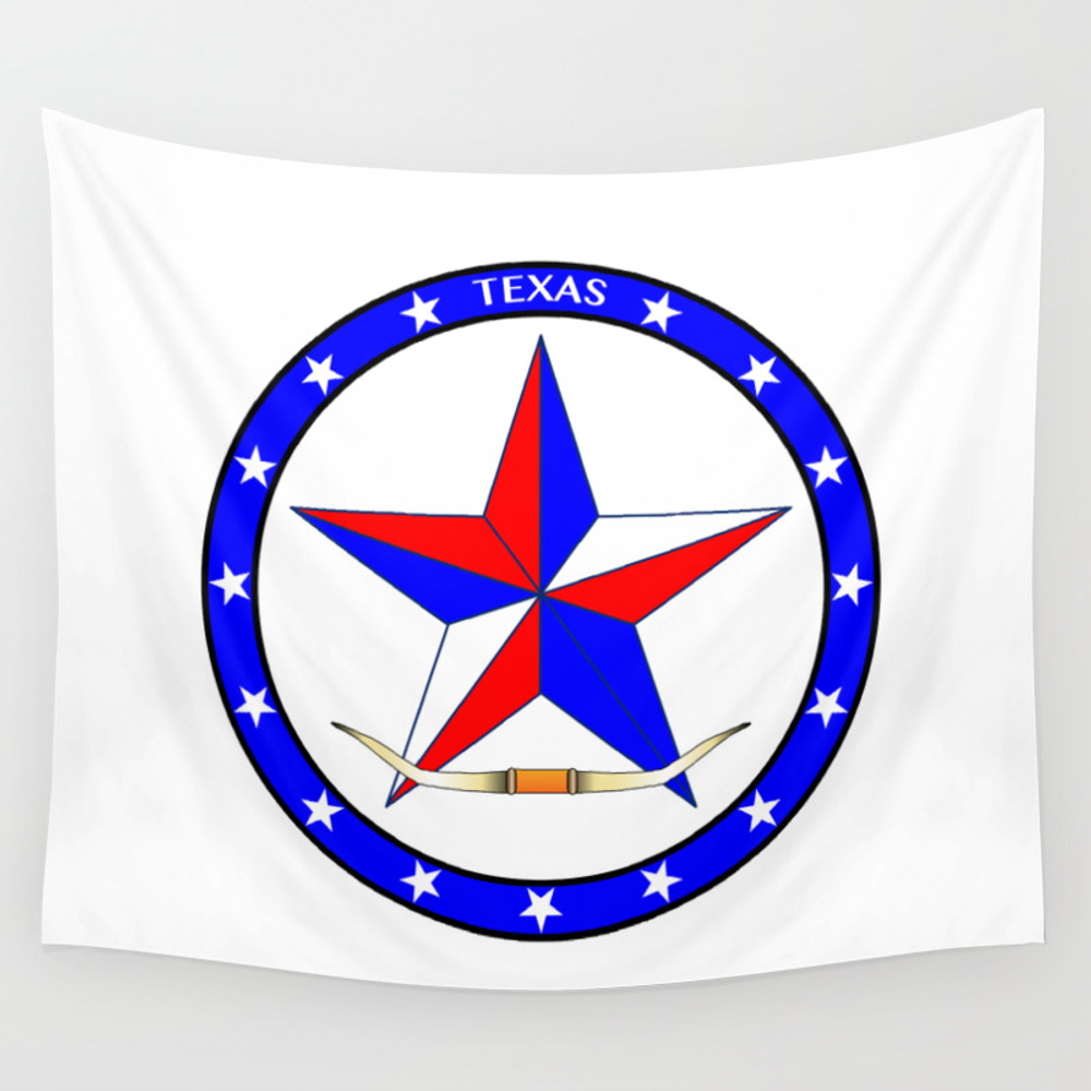 Texas Star And Steer Horns Wall Tapestry by Homestead TPS4656872