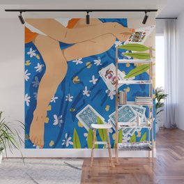 Playing Cards, Summer Games Vacation, Nature Bohemian Picnic Beach, Joker Illustration Wall Mural