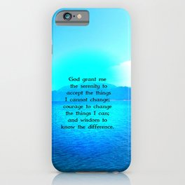 Serenity Prayer With Blue Ocean and Amazing Sky iPhone Case