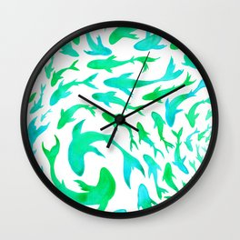 Moving in Unison (Turquoise and Green) Wall Clock