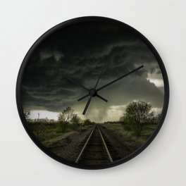 Give Me Shelter - Storm Over Railroad Tracks in Kansas Wall Clock