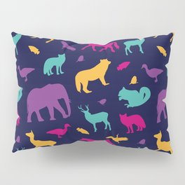 Colorful Wild Animal Silhouette Pattern Pillow Sham