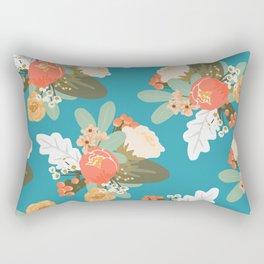 Turquoise Peach Floral Rectangular Pillow