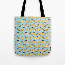 Floating Feathers on Blue Surface Pattern Design Tote Bag