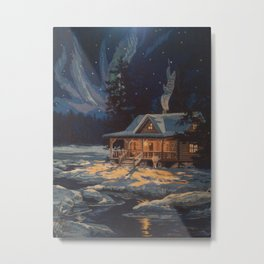 Blue Aurora Nights Metal Print