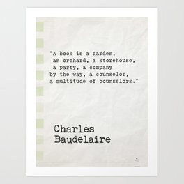 Charles Baudelaire quote about books Art Print