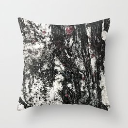 Black Web Dripping // Red Speckled Granite Stone Texture Throw Pillow