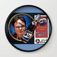 dwight schrute Wall Clocks featuring Dwight Schrute  |  Beet Cola Advertisement by Silvio Ledbetter
