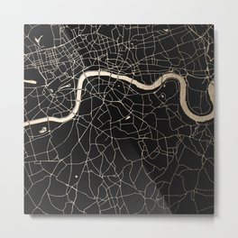 London Black on Gold Street Map II Metal Print