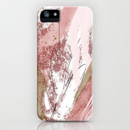 Sugar and Spice: a minimal, abstract mixed-media piece in pink and brown by Alyssa Hamilton Art iPhone Case