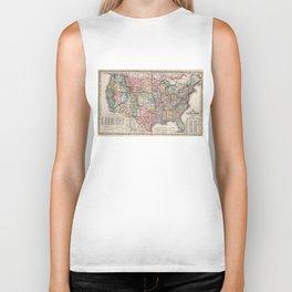 Vintage United States Map (1860) Biker Tank