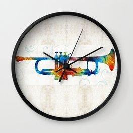 Colorful Trumpet Art Color Fusion By Sharon Cummings Wall Clock