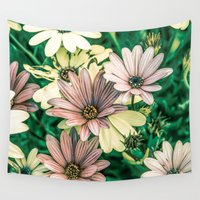 daisies Wall Tapestries featuring Daisies by Loredana