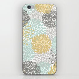 Floral Abstract Print, Yellow, Gray, Aqua iPhone Skin