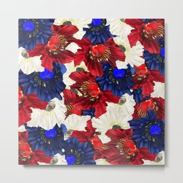 Red White Blue Floral Gems Metal Print