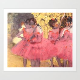 The Pink Dancers Before the Ballet Art Print