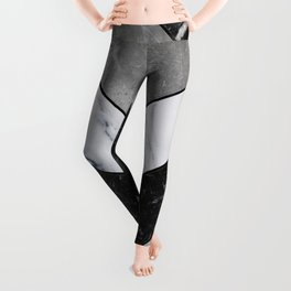 Shimmering mirage - grey marble chevron Leggings