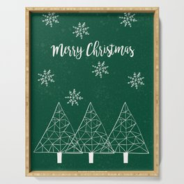 Merry Christmas Green Serving Tray