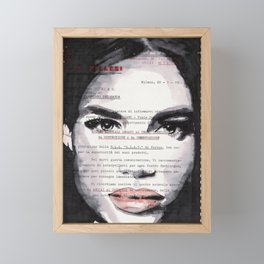 Veronica - ink drawing over vintage commercial invoice Framed Mini Art Print