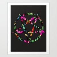 pentagram Art Prints featuring Pentagram by YEAH RAD STOKED